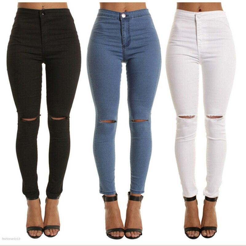 Autumn White Hole Skinny Ripped Jeans Women Jeggings Cool Denim High Waist Pants Capris Female Skinny Black Casual Jeans