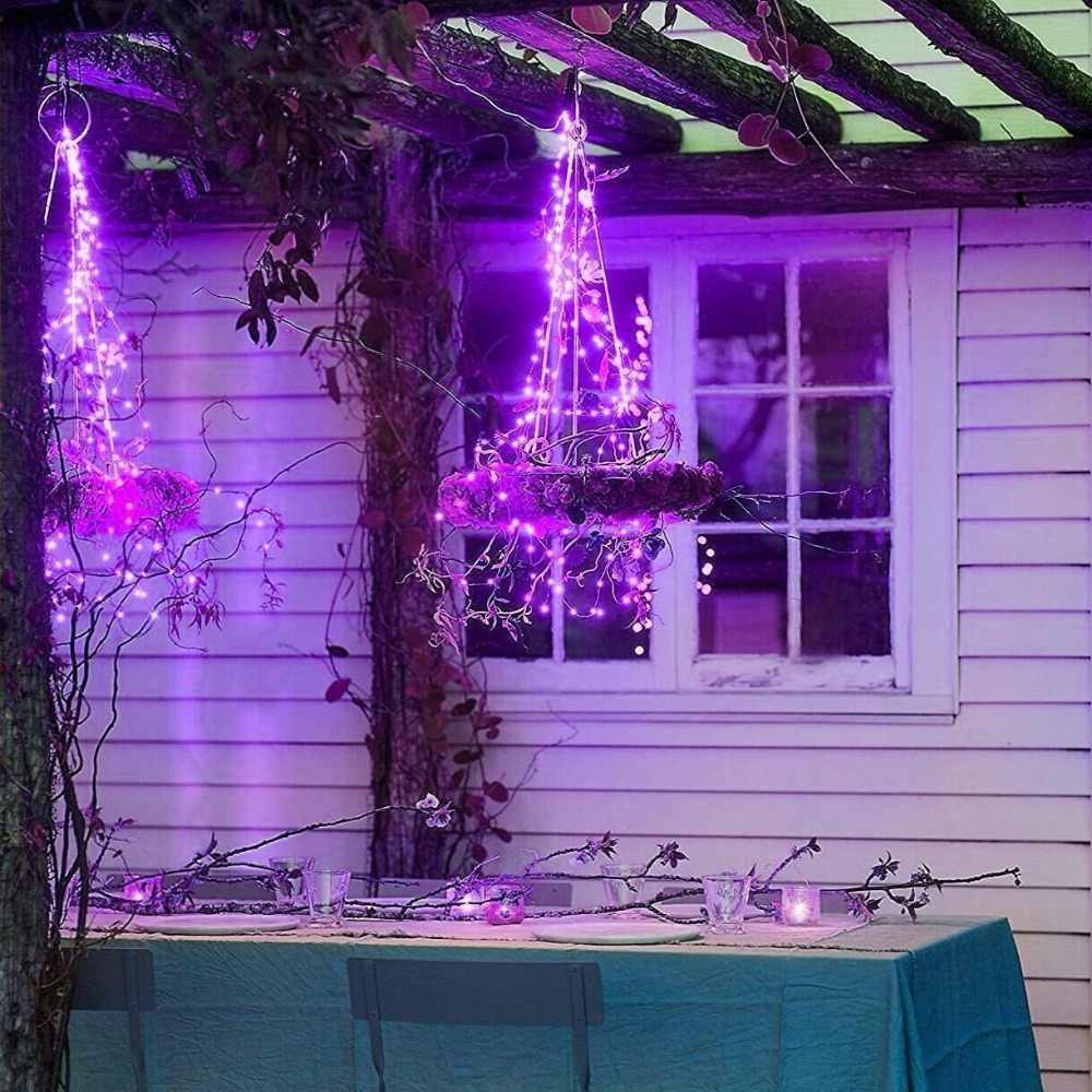 String Lights Battery Operated Waterproof 8 Modes Remote Control  Sliver Wire Firefly lights Christmas Decor Christmas Lights