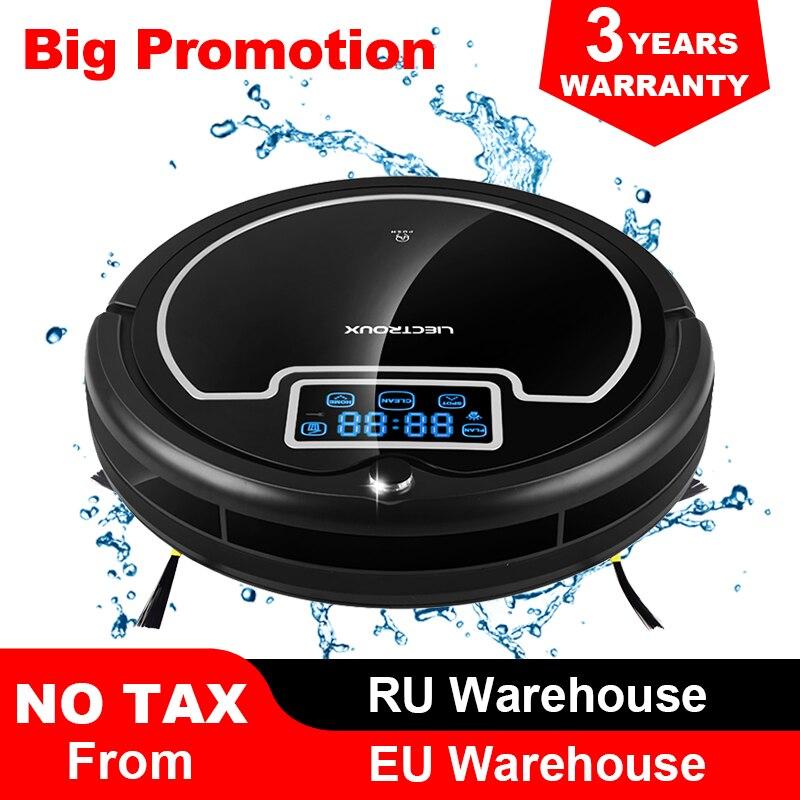 (Frete Grátis para Todo o, Entrega Rápida) Robot Vacuum Cleaner com Tanque de Água, Wet & Dry, tela sensível ao toque, Grande Mop, Agenda, Virtual Bloqueador