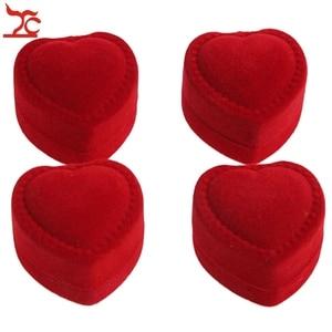 Image 3 - Wholesale 24Pcs Romantic Velvet Birthday engagement Ring Box Red Heart Shaped Valentines Day Ring Gift Box Velvet Ring Box