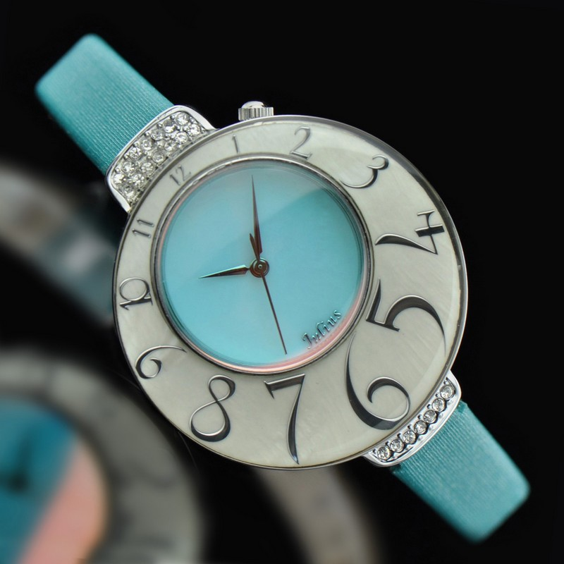 ФОТО Lady Woman Wrist Watch Quartz Shell Hours Best Fashion Dress Korea Leather Bracelet Band Ice Cream Blue Girl Gift Birthday 504