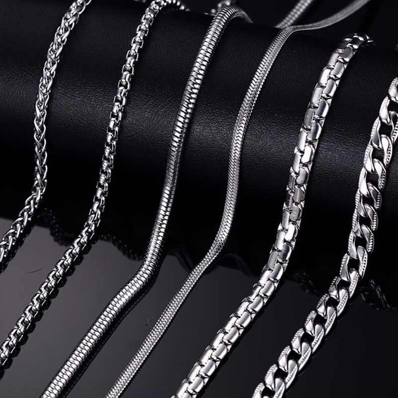 Meaeguet Classic Stainless Steel Silver Color Link Chain Necklace Snake/Box/Hanging/Curb/Flat/Twist Chain 24inch