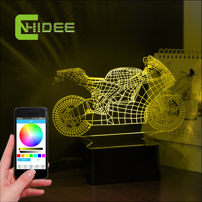 USB Novelty Bluetooth Speaker Motorcycle 3D Music Lamp LED Table Night Lights Smart Phone App Controller Lighting Lampe for Kid