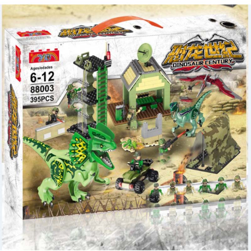 Legoings Jurassic World Park Dilophosaurus Ambush Building Blocks Bricks Kids Classic City Model Toys For Children Gifts BKX79 mini jurassic world park fossil triceratops raptor skeleton building blocks sets bricks kids model kids creator toys marvel city