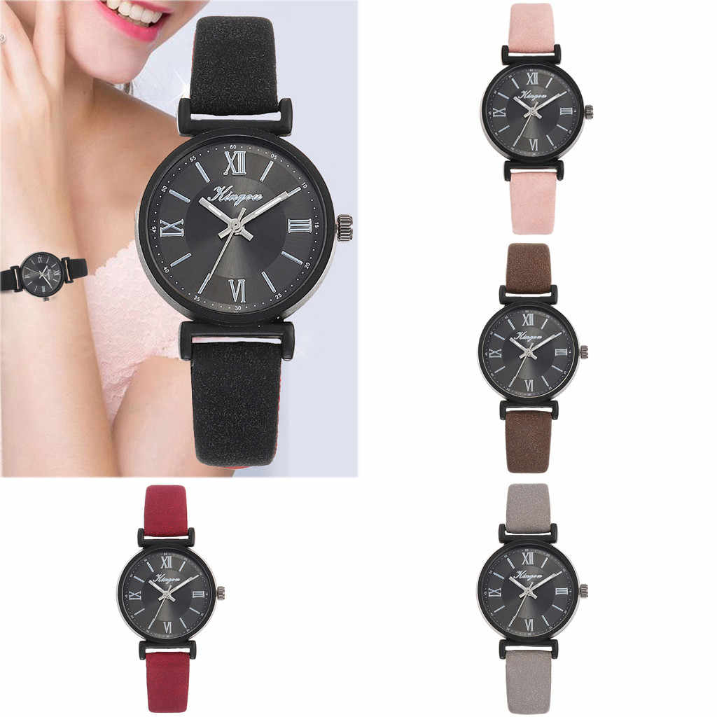 Moda basit bayanlar quartz saat basit 5 renk rahat deri kemer kol saati kadın saatler bayanlar kol saati kadın W2