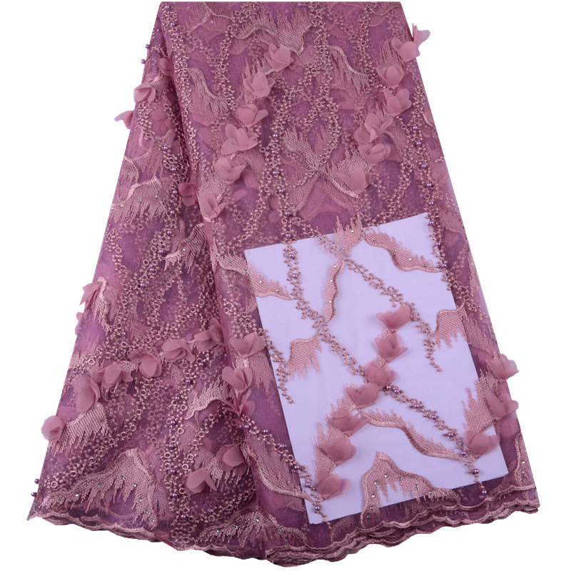 Onion Color Tulle Lace Fabric Pearls Lace Applique Fabric For Wedding DIY Dress African 3D Flower