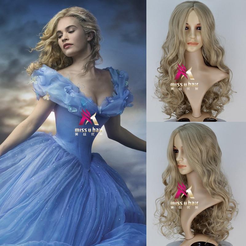 Film Movie Cinderella Wig Cosplay Role Play Halloween Princess Hair With Hair Net Body Wave Wig