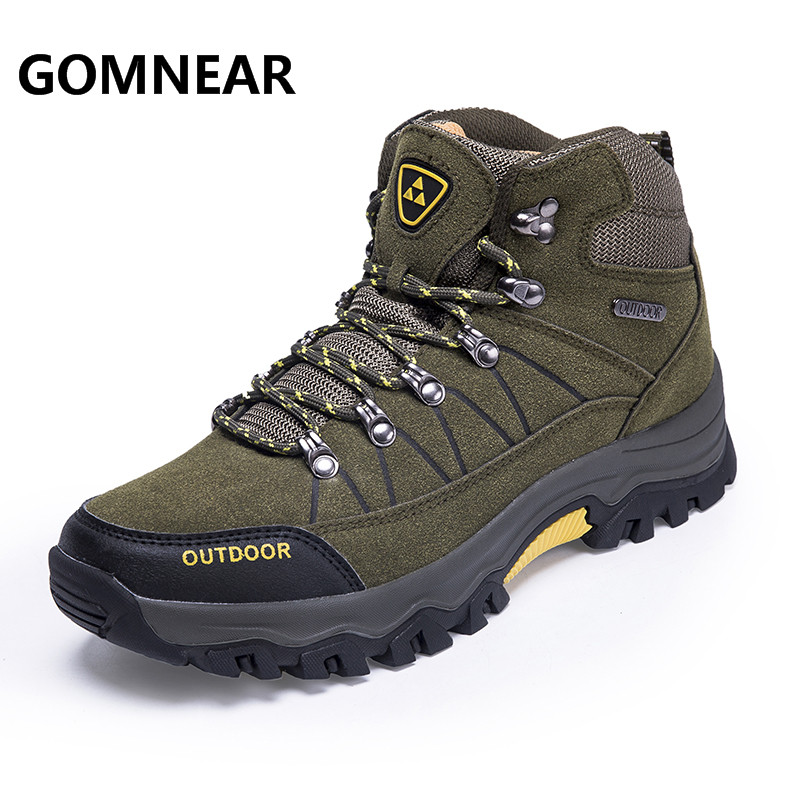 GOMNEAR Men Hiking Shoes Waterproof Male Outdoor Tourism Trekking Shoes Leather Climbing Mountain Shoes Hiking Boots Sneakers