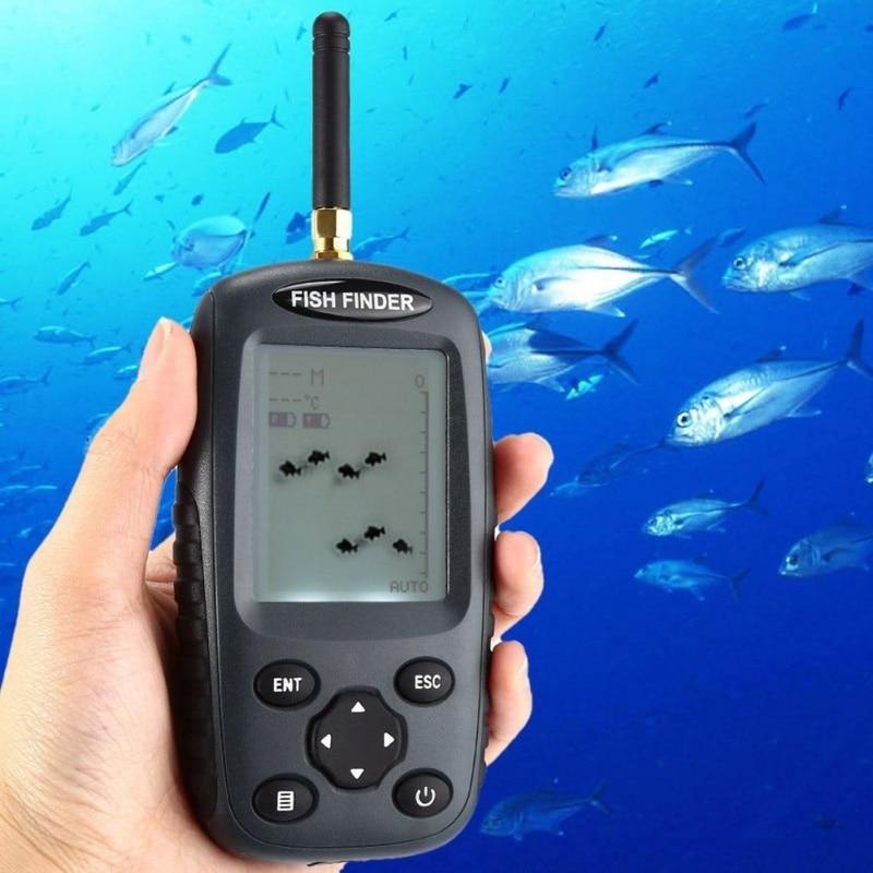 Le plus récent détecteur de poisson Portable intelligent FF998 Sonar Rechargeable détecteur de poisson sans fil capteur Sonar 125khz sondeur sans fil