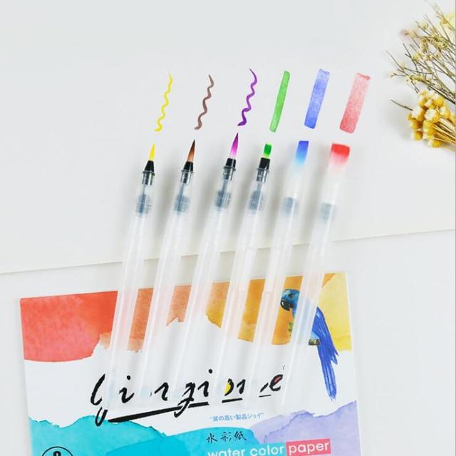 3/6 PCS Set Water Paint Soft Brush Pen Watercolor Brush Pen refillable Nylon Brush Tip Pen For Painting Drawing Art Supplies 1