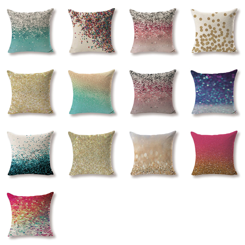 High Quality Cushion Covers Art Sequins Pillow Covers Girls Car Beds Large Cotton Linen Home Decorative Colour Throwpillow Cover