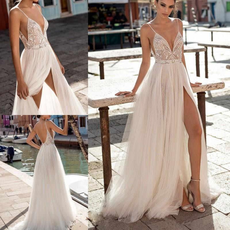 Gali Karten/2020 пляжные свадебные платья, бохо-ТРАПЕЦИЕВИДНОЕ свадебное платье с разрезом по бокам, с жемчугом, с открытой спиной, Богемские свадебные одежды