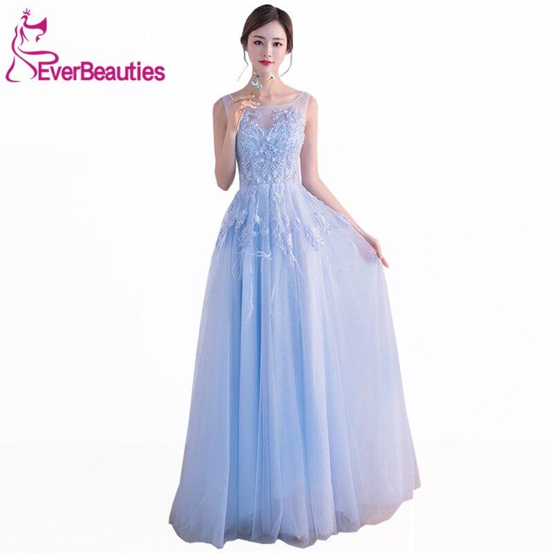 Robe De Soiree Light Blue Evening Dress Long New Tulle Lace