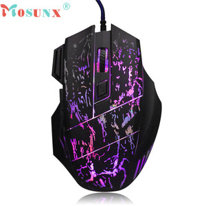 Mosunx Advanced Wired Gaming Mouse Mice 5500 DPI Colorful LED 2018 computadora por cable Optical USB For PC Laptop 1PC