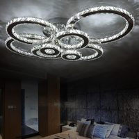 Surface mounted modern led ceiling crystal chandeliers for lobby living room bedroom circle ring avize cristals large chandelier