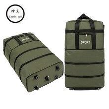 Путешествия камера 32 дюйма 5 колес водонепроницаемый чемодан портативный нейлон ткань ткани, авиаперевозчик сумка, складывая чемодан сумки