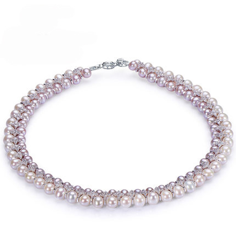 RUNZHUQIYUAN 2017 100 natural freshwater pearl choker necklace 5 6mm 7 8mm real Pearl 925 sterling