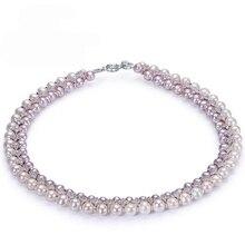Runzhuqiyuan 2017 100% натуральный пресноводный жемчуг колье ожерелье 5-6 мм/7-8 мм настоящая жемчужина 925 стерлингов Серебряные ювелирные изделия для женщин