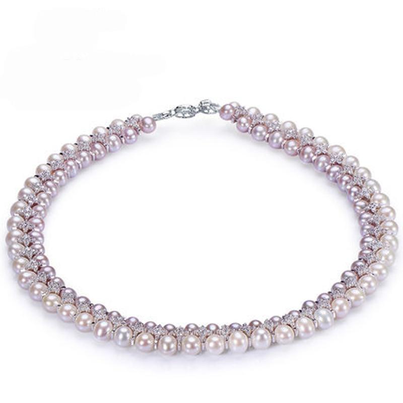 RUNZHUQIYUAN 2017 100% naturel d'eau douce perle collier ras du cou 5-6mm/7-8mm vraie Perle 925 sterling Bijoux En Argent Pour Femmes