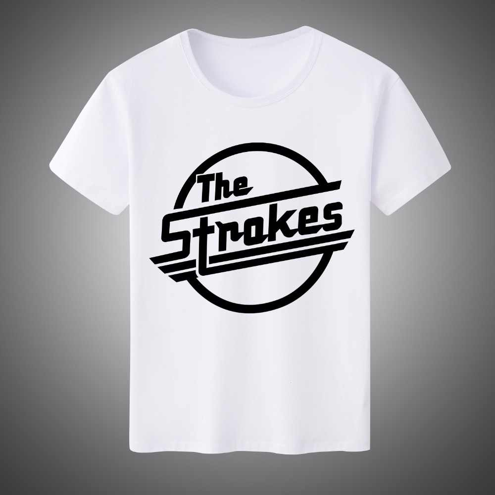 27e4320aa54d ... Popular The Strokes T Shirt Men Letter Printed Indie Rock Band T-shirt  Short Sleeve ...