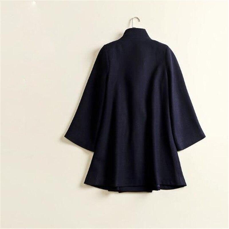 Mujeres Vestir Otoño Larga largo Ma339 Las Manga Prendas 2019 Casual Lana Dulce De Marino Exteriores Medio Navy Azul Abrigo Gabardinas Blue Chaqueta 7qw6tzXx
