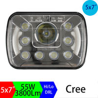 5x7 6x7 7x5inch Rectangular Dual Beam H4 Sealed Beam Conversion Bi Led Headlights 7inch Replacement Led