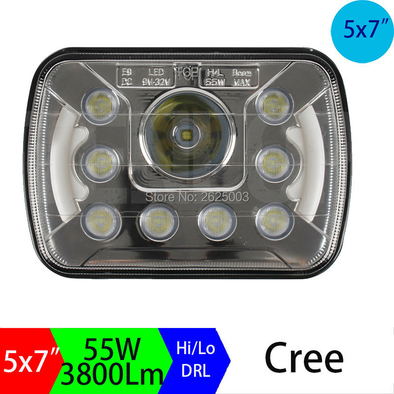 5x7 6x7 7x5inch Rectangular  Dual Beam H4 Sealed Beam Conversion Bi-Led Headlights 7inch Replacement Led Work Lights Driving