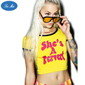 Sea-mao 2016 Summer Sexy Crop Top T Shirt Women She's A Pervert Printed Funny Female T-Shirt Cropped Short Sleeve Top Tee JST021