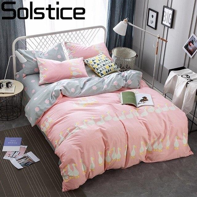 Solstice Home Textile High Quality Cotton Cartoon Pink Ducks 4pcs Bedding Sets Bed Linen