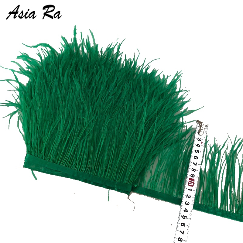 10Metes 10 15cm long Deep Green ostrich feathers plumes Fringe trim 4 6 feather boa stripe