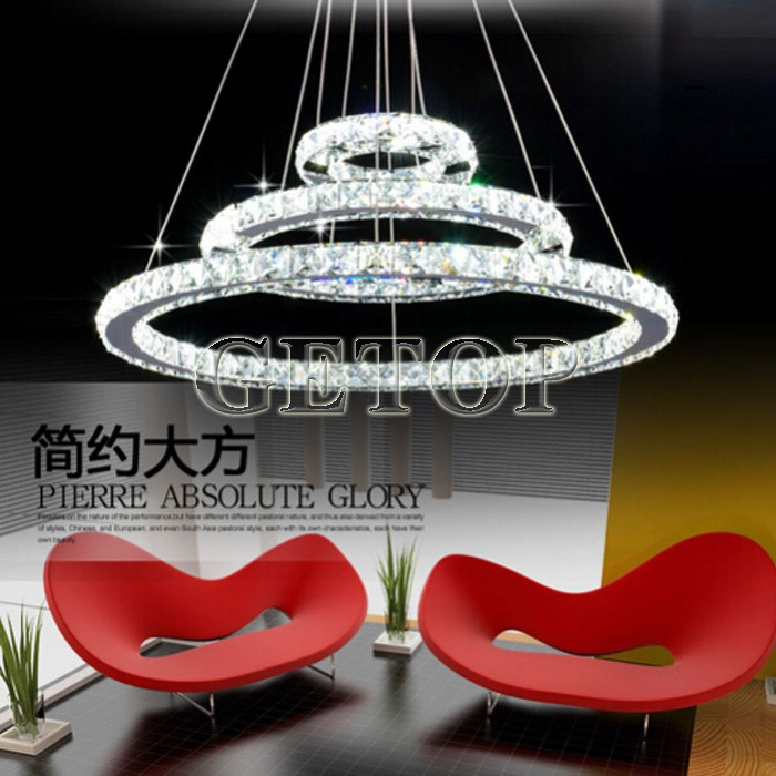 Modern Creative European-Style Luxury Living Room Lamps Restaurant Crystal Lustres LED Ring Diamond Circular Art Lights modern crystal chandelier led hanging lighting european style glass chandeliers light for living dining room restaurant decor