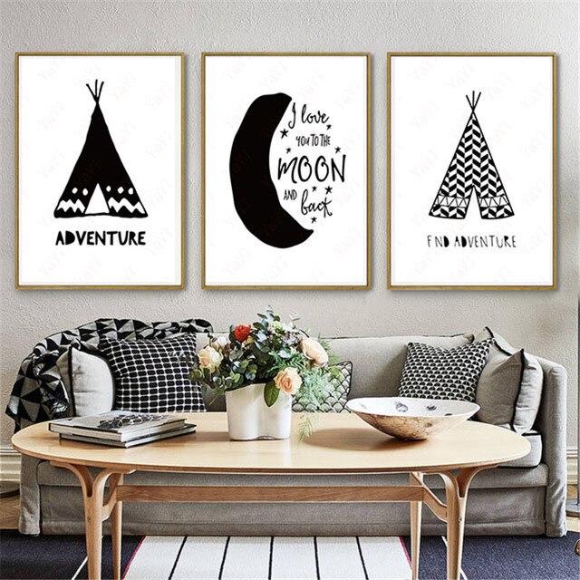 4 34 35 De Reduction Haochu Maison Bureau Chambre Peinture A La Main Citation Fleche Noir Blanc Toile De Fond Mur Art Affiche Impression Toile