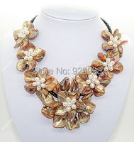 Wholesale Free P&P***pretty golden mother of pearl shell weave flower pendant necklace 18