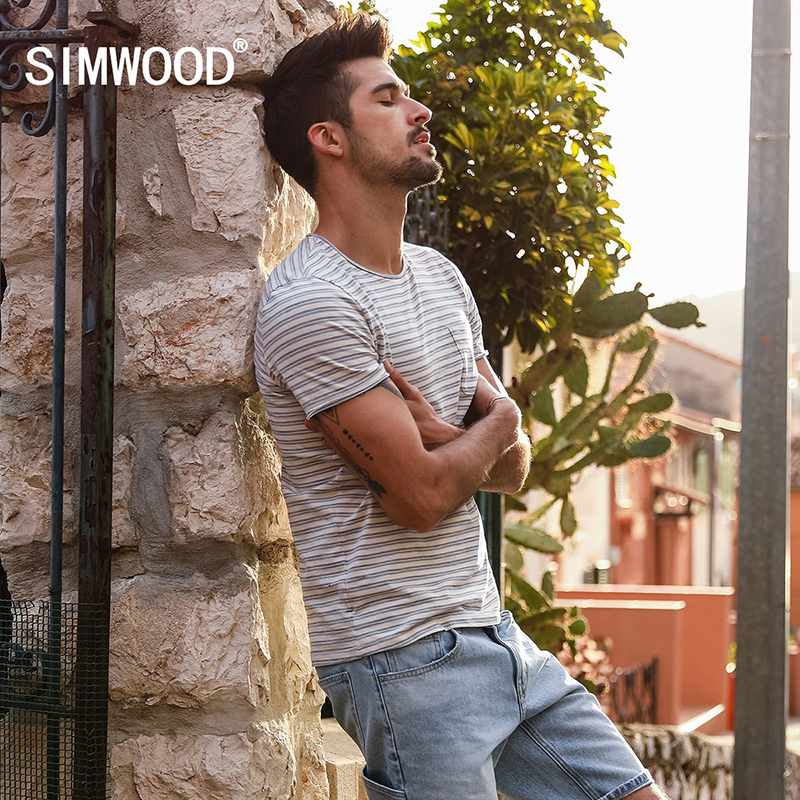 SIMWOOD 2018 Summer New Striped T Shirt Men Slim Fit 100% Cotton High Quality Plus Size Brand Clothing Breton Top Tees 180201 полка new brand 3pcs 20 30 slim fit ts079