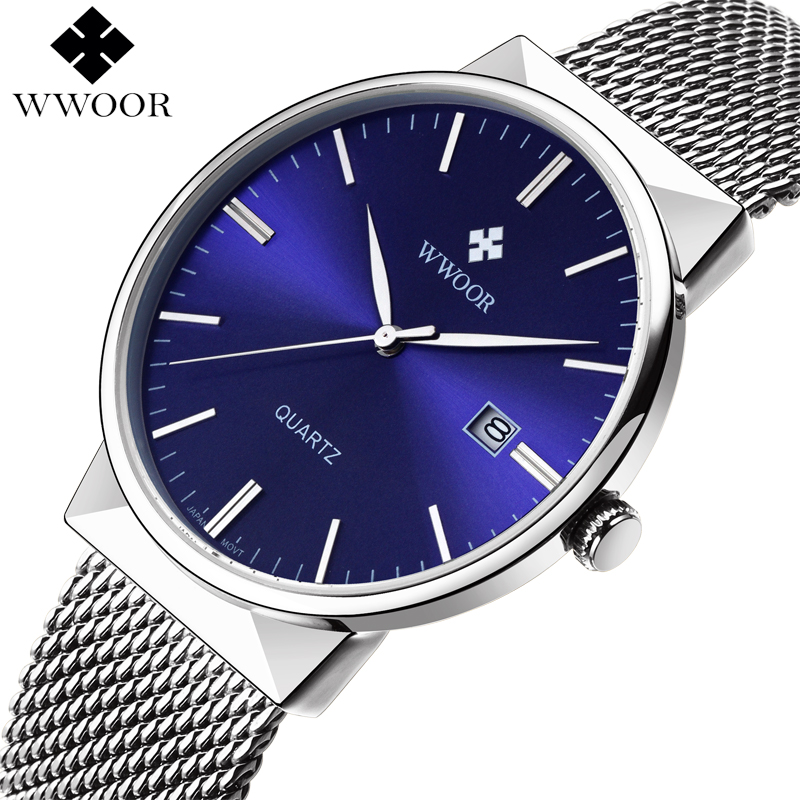 WWOOR Brand Men Watches Waterproof Luxury Stainless Steel Date Clock Male Wristwatch Men Quartz Business Watch relogio masculino men watches brand wwoor men s watch famous casual quartz watches stainless steel wristwatches waterproof male clock reloj