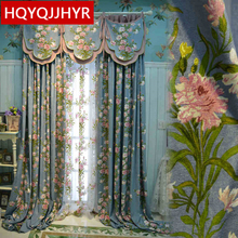 American Style pastoral luxury embroidered Cotton Linen Blackout curtains for Living Room Windows modern Bedroom