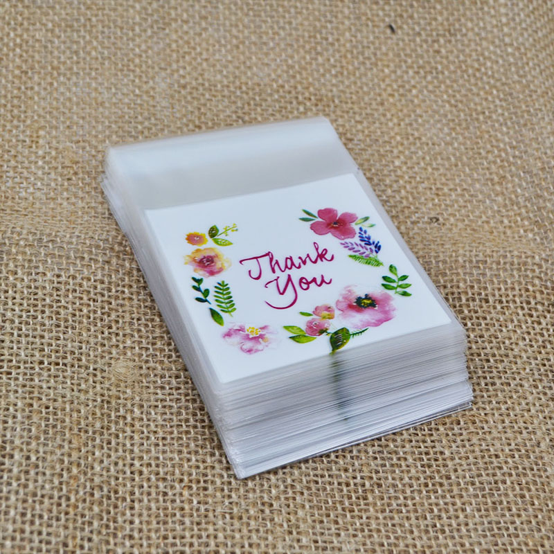 100pcs/lot Write Thank You Plastic Transparent Cellophane Baking Candy Cookie Gift Bag For Wedding Birthday Party Favors