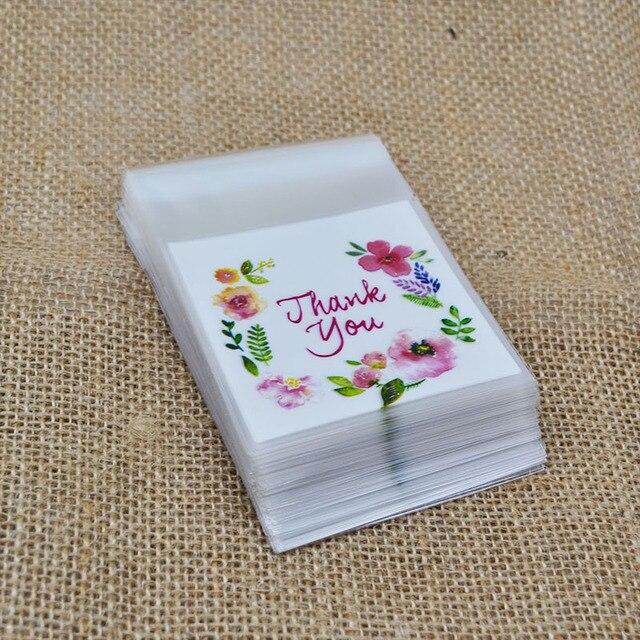 50/100 piezas/lote escribir gracias de plástico celofán transparente para hornear galletas dulces bolsa de regalo para fiesta de cumpleaños boda favores 8z