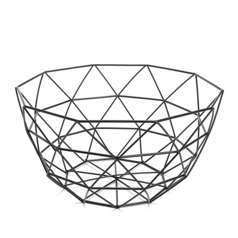 Nordic Style Fruit Basket Wire Decorated Metal Storage