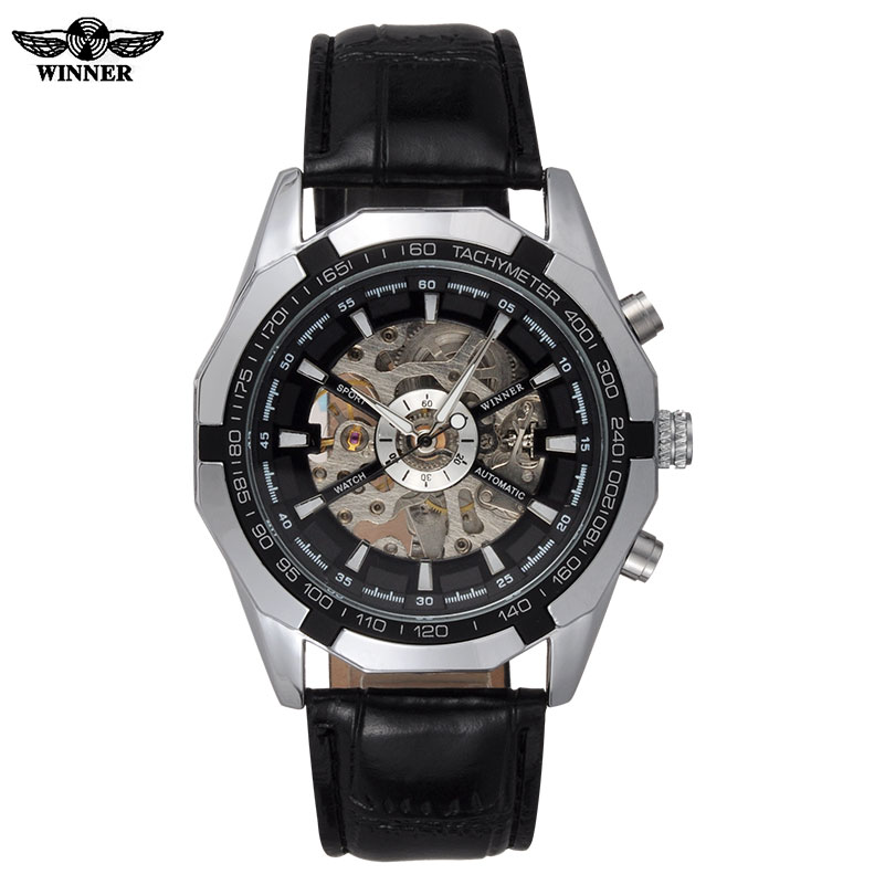 men mechanical watches WINNER brand automatic skeleton watches fashion casual leather wristwatches silver clock reloj hombre t winner automatic mechanical watches fashion luxury gear shape silver skeleton dial wrist watch men noble casual clock leather