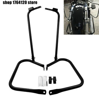 Motorcycle Black Saddlebag Bracket Guard Bar Set For Harley Touring Road King Electra Glide Classic FLHTC Street Glide 1997-2008