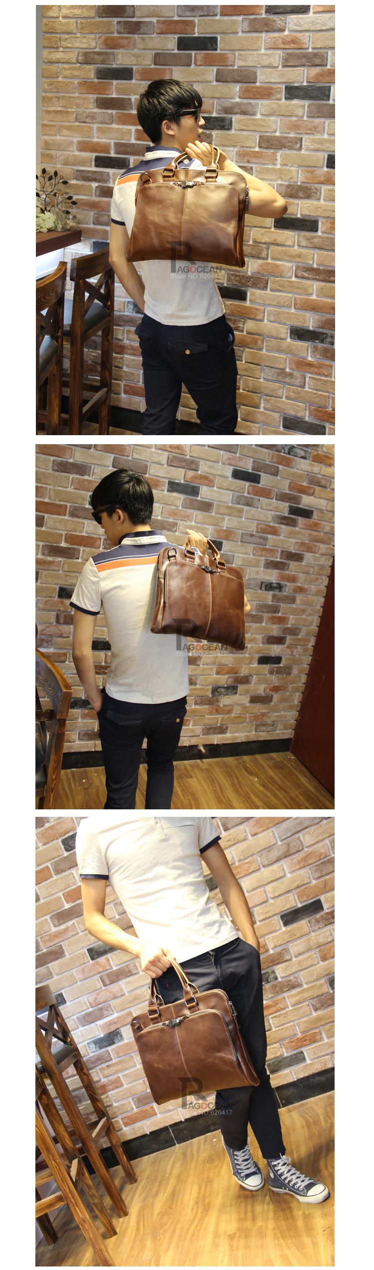 "New high quality pu leather Shoulder leisure men's bag business messenger portable briefcase Laptop large Purse 14"" Handbag 8"
