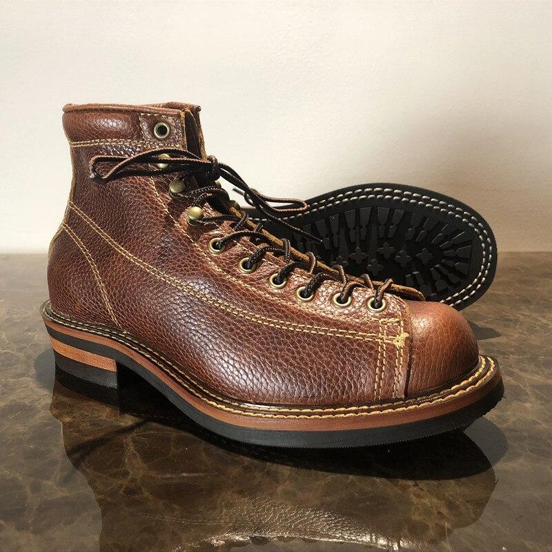 Męskie wiosna zimowe buty okrągłe Toe najwyższej jakości rocznika prawdziwa skóra skóry wołowej kostki buty na co dzień buty motocyklowe Unisex duży rozmiar w Buty motocyklowe od Buty na  Grupa 3