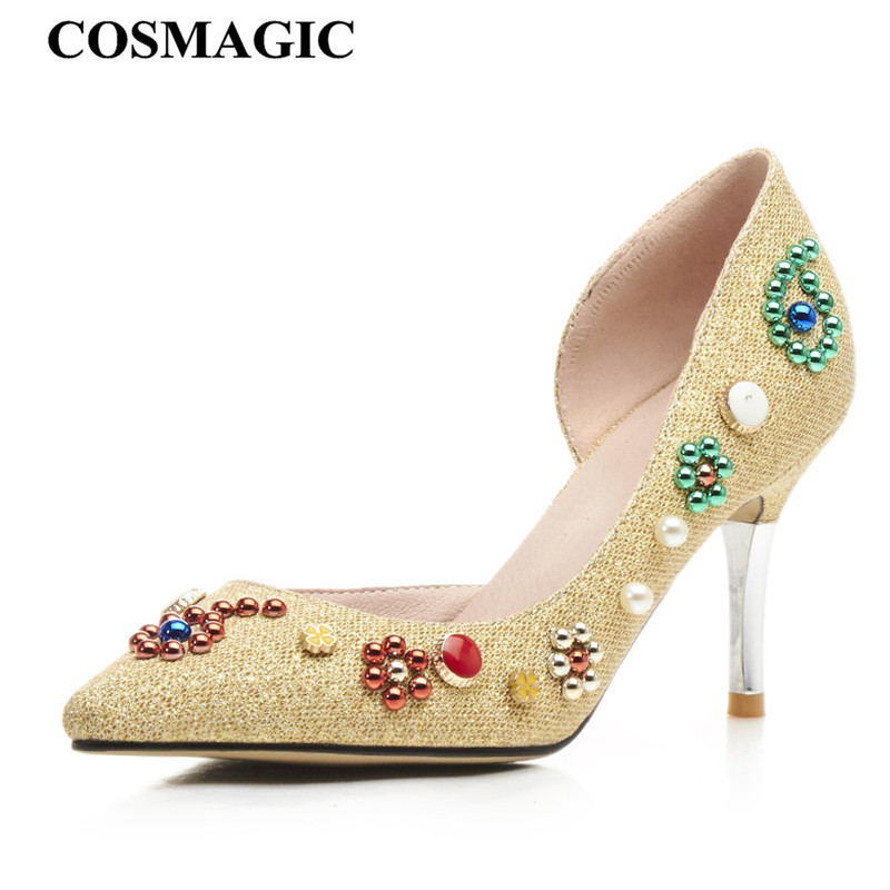Fashion Beading Dress Women D Orsay Pumps 2018 New Spring Pointed