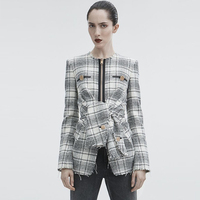 На молнии черный плед твидовое пальто womanLace до элегантных womanBlazer Винтаж элегантный хлопок манто дизайнерские женские пальто 18A50125