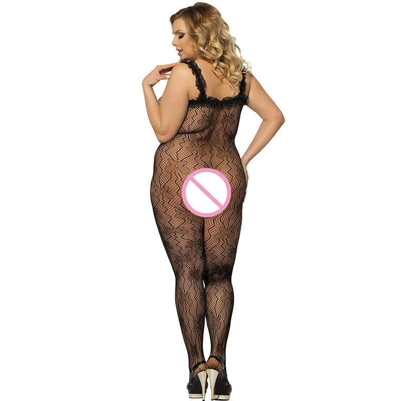 J3139 Black lace trim ropa interior mujer sexy erotica plus size transparent mesh body suit sleeveless open crotch bodysuit 3