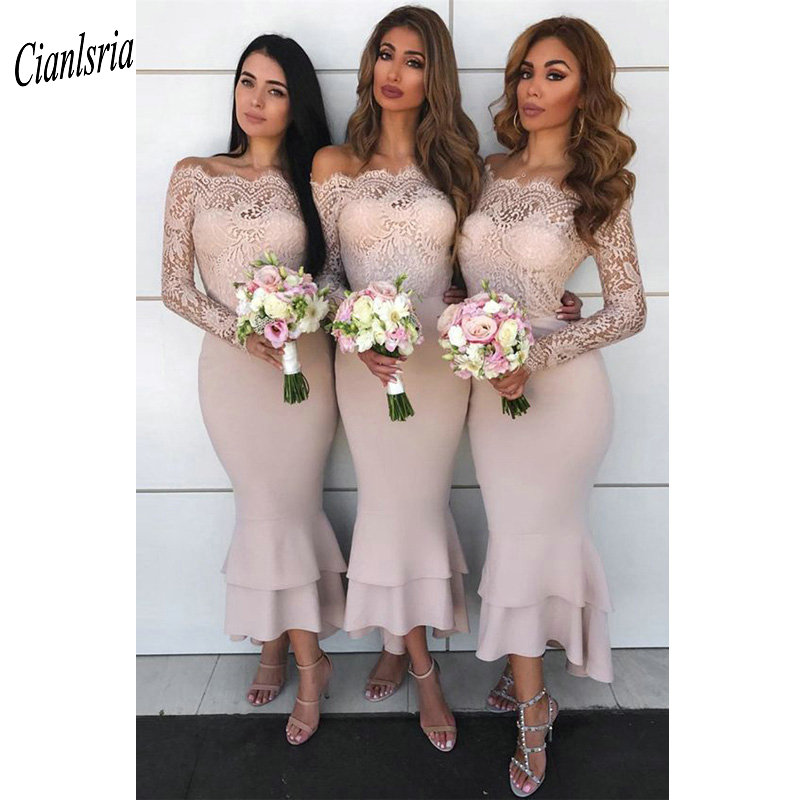 Off The Shoulder Tea-Length Lace Mermaid   Bridesmaid     Dresses   Long Sleeve Wedding Guest   Dress   For Wedding Party vestido madrinha