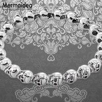 Bracelet Men Strand Silver Skull Beads 2019 New Blackened Silver Fashion Jewelry Punk Gift for Men Boy Women Girls