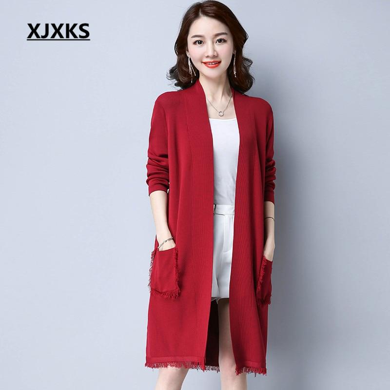 XJXKS Women Long Sleeve 2018 Spring Cardigan Sweaters Tassel Pocket Streetwear Stretch Women's Cardigans Long Sweater