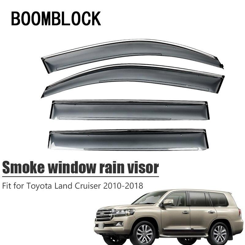 High Quality 4pcs Smoke Window Rain Visor For Toyota Land Cruiser 2018 2010 Styling ABS Vent